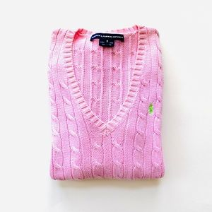 Ralph Lauren Sport Pink Cable Knit V-Neck Sweater